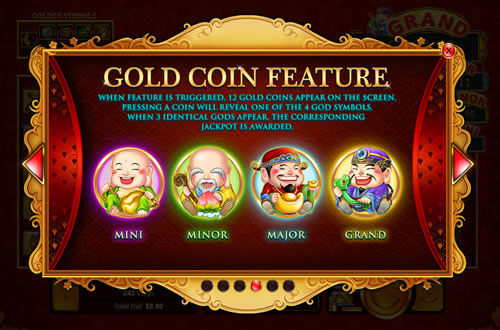 plentiful treasure gold coin feature