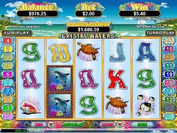 Crystal Waters RTG slot game