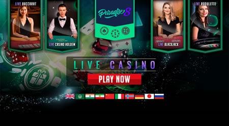 Paradise 8 Live dealer games