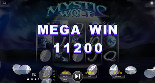 Mega Win on Mystic Wolf slot game by Rival Gaming