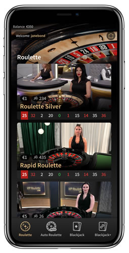 Playing live dealer games on mobile